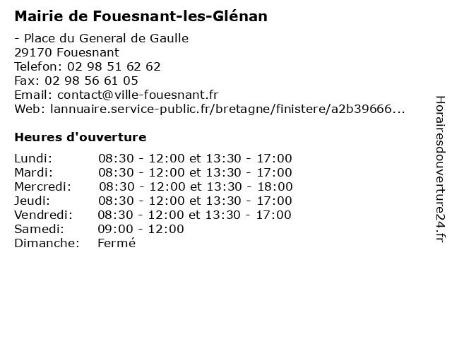 Mairie de Fouesnant à Fouesnant: adresse et heures d'ouverture