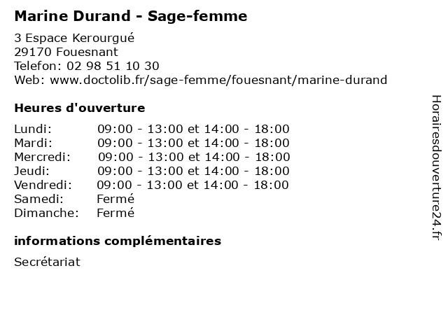 Marine Durand - Sage-femme à Fouesnant: adresse et heures d'ouverture