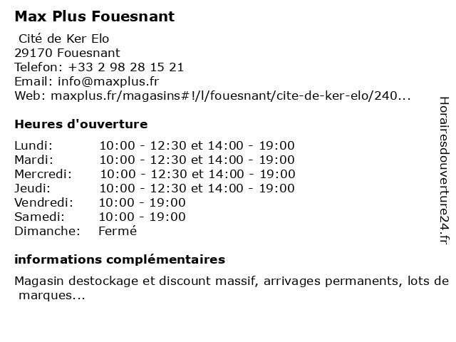Max Plus Fouesnant à Fouesnant: adresse et heures d'ouverture