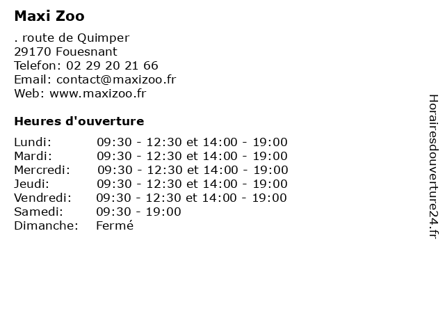 Maxi Zoo à Fouesnant: adresse et heures d'ouverture