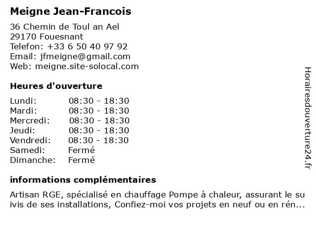 Meigne Jean-Francois à Fouesnant: adresse et heures d'ouverture