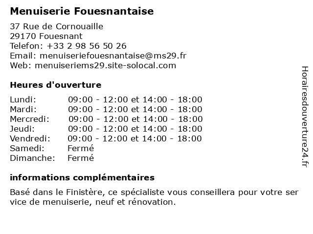 Menuiserie Fouesnantaise à Fouesnant: adresse et heures d'ouverture