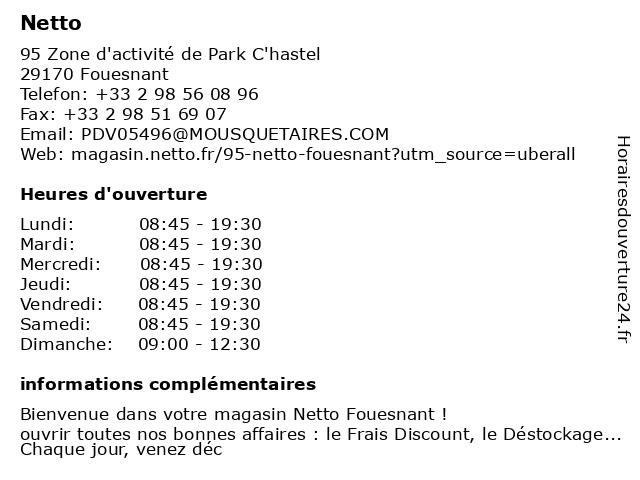 Netto à Fouesnant: adresse et heures d'ouverture