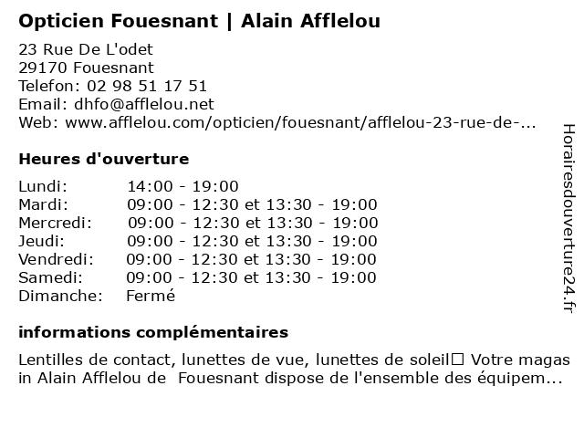 Opticien Alain Afflelou à Fouesnant: adresse et heures d'ouverture