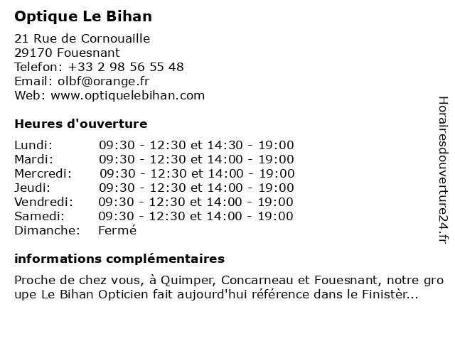 Optique Le Bihan à Fouesnant: adresse et heures d'ouverture