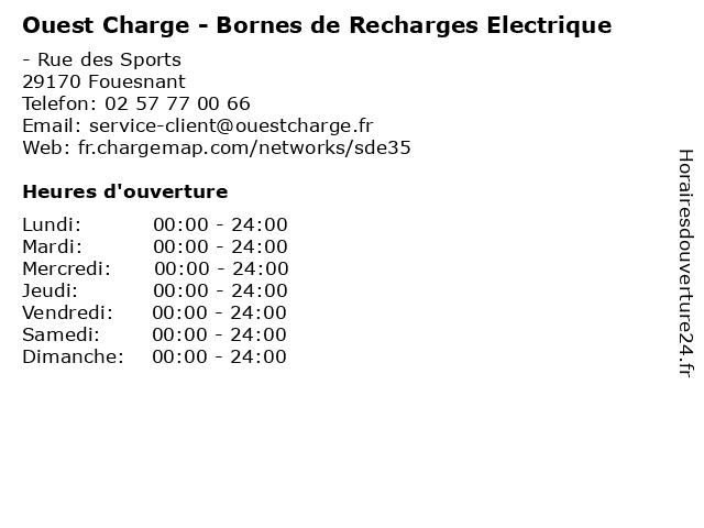 Ouest Charge - Bornes de Recharges Electrique à Fouesnant: adresse et heures d'ouverture