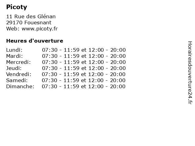 Picoty à Fouesnant: adresse et heures d'ouverture