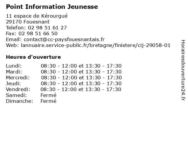 Point Information Jeunesse à Fouesnant: adresse et heures d'ouverture
