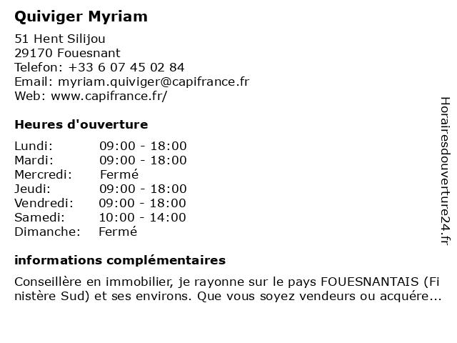 Quiviger Myriam à Fouesnant: adresse et heures d'ouverture