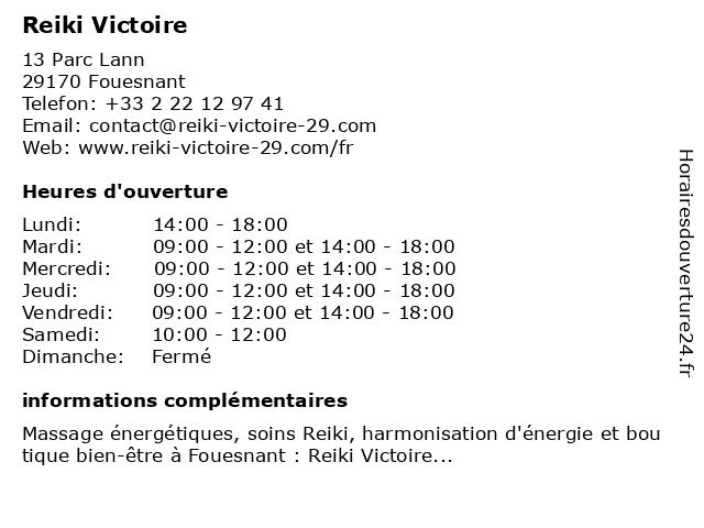 Reiki Victoire à Fouesnant: adresse et heures d'ouverture