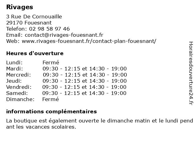Rivages à Fouesnant: adresse et heures d'ouverture