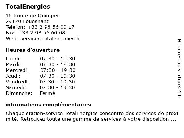 Station-Service Total à Fouesnant: adresse et heures d'ouverture