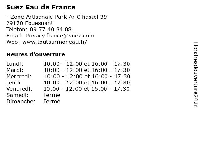 Suez Eau de France à Fouesnant: adresse et heures d'ouverture