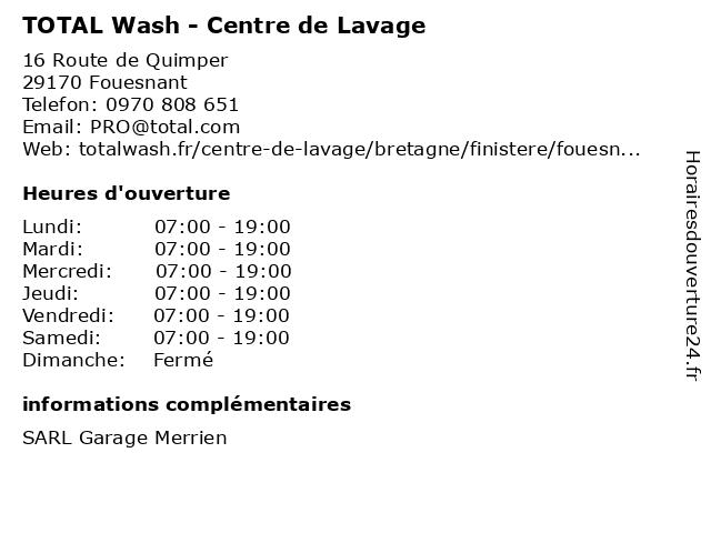 TOTAL Wash - Centre de Lavage à Fouesnant: adresse et heures d'ouverture