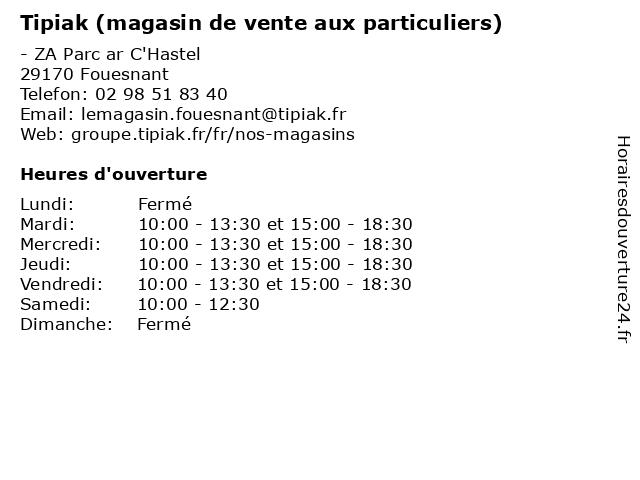 Tipiak (magasin de vente aux particuliers) à Fouesnant: adresse et heures d'ouverture