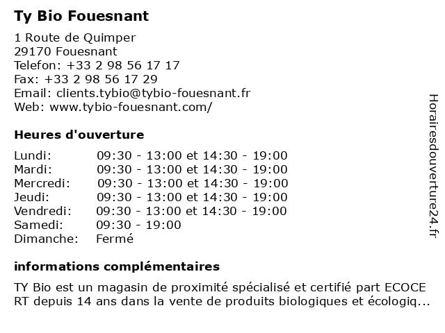Ty Bio Fouesnant à Fouesnant: adresse et heures d'ouverture