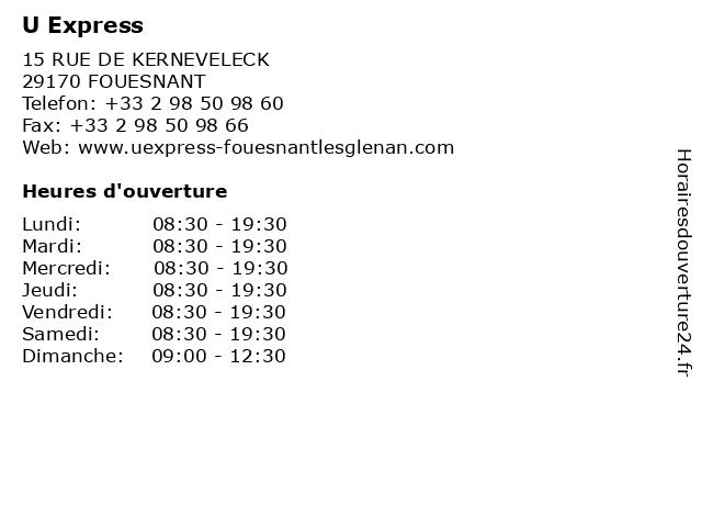 U Express à Fouesnant: adresse et heures d'ouverture