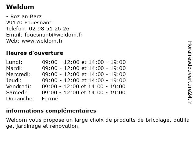 Weldom à Fouesnant: adresse et heures d'ouverture