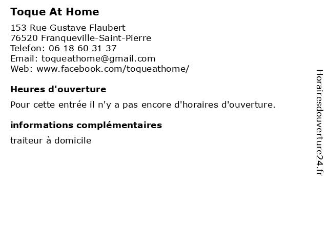 Toque At Home à Franqueville-Saint-Pierre: adresse et heures d'ouverture