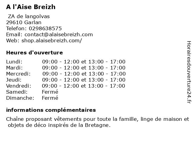 A l'Aise Breizh à Garlan: adresse et heures d'ouverture
