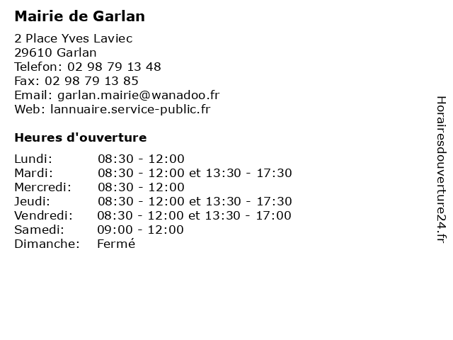 Mairie de Garlan à Garlan: adresse et heures d'ouverture