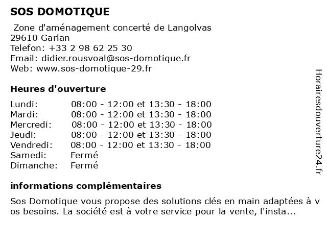 SOS DOMOTIQUE à Garlan: adresse et heures d'ouverture