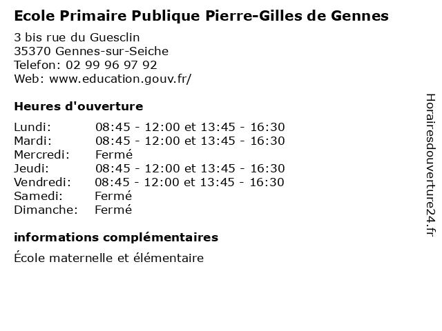 Ecole Primaire Publique Pierre-Gilles de Gennes à Gennes-sur-Seiche: adresse et heures d'ouverture