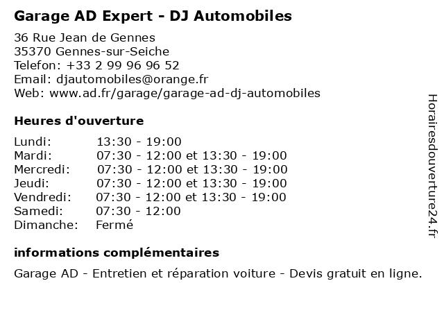 GARAGE DJ AUTOMOBILES à Gennes-sur-Seiche: adresse et heures d'ouverture