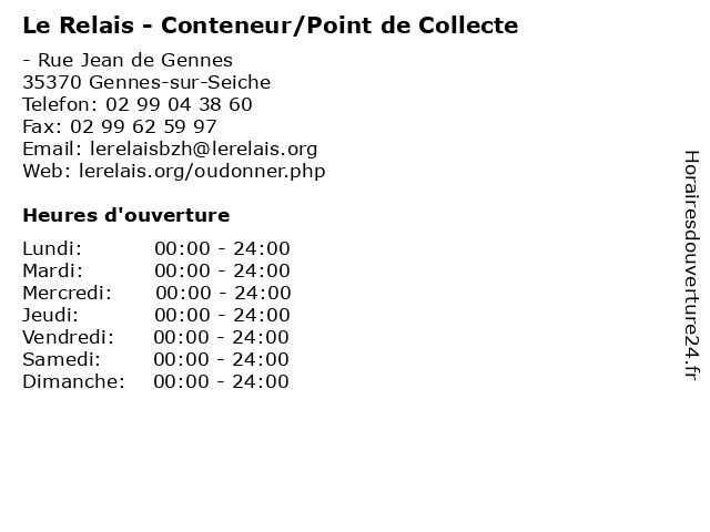 Le Relais - Conteneur/Point de Collecte à Gennes-sur-Seiche: adresse et heures d'ouverture