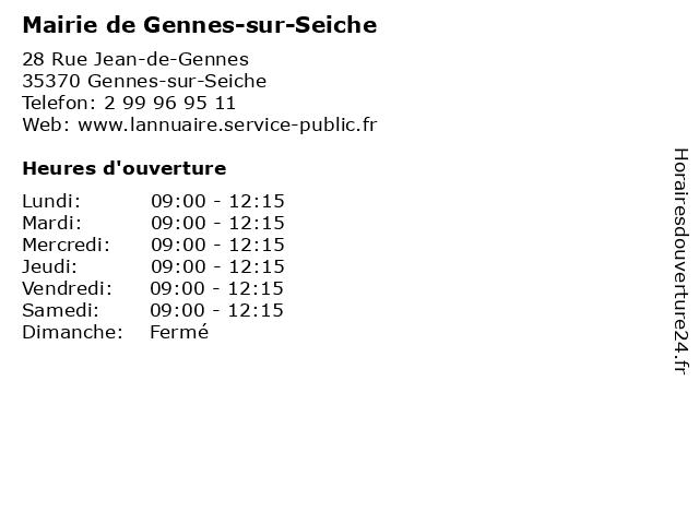 Mairie de Gennes-sur-Seiche à Gennes-sur-Seiche: adresse et heures d'ouverture