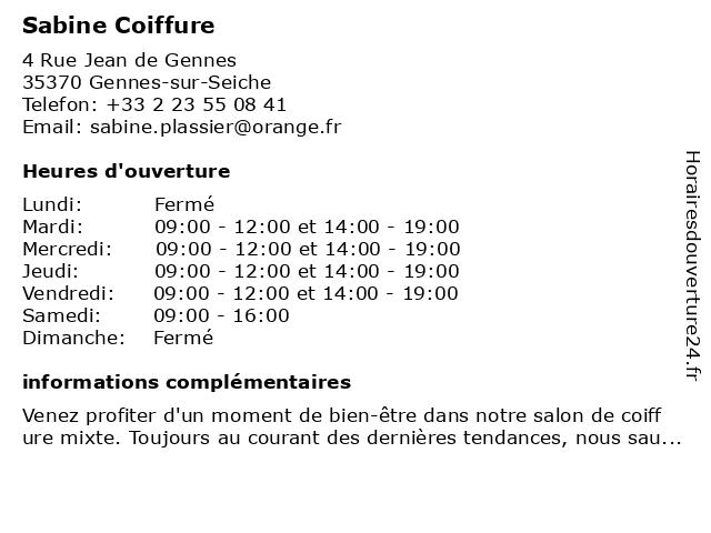Sabine Coiffure à Gennes-sur-Seiche: adresse et heures d'ouverture