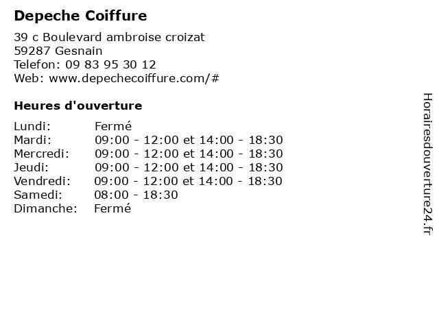 Depeche Coiffure à Gesnain: adresse et heures d'ouverture