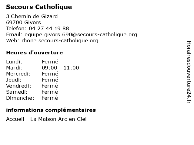 Secours Catholique à Givors: adresse et heures d'ouverture