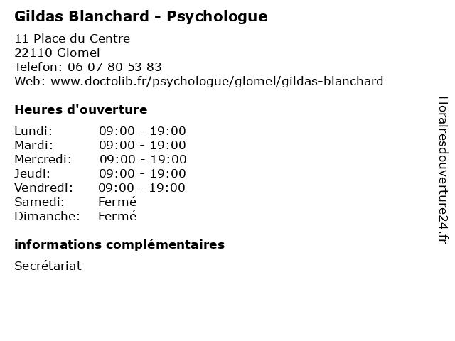 Gildas Blanchard - Psychologue à Glomel: adresse et heures d'ouverture