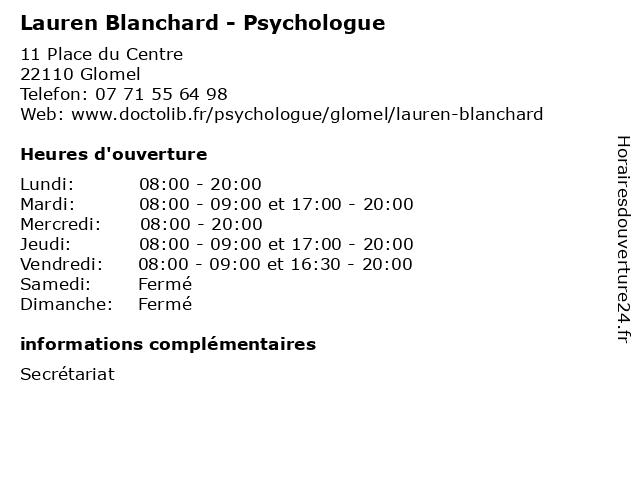 Lauren Blanchard - Psychologue à Glomel: adresse et heures d'ouverture
