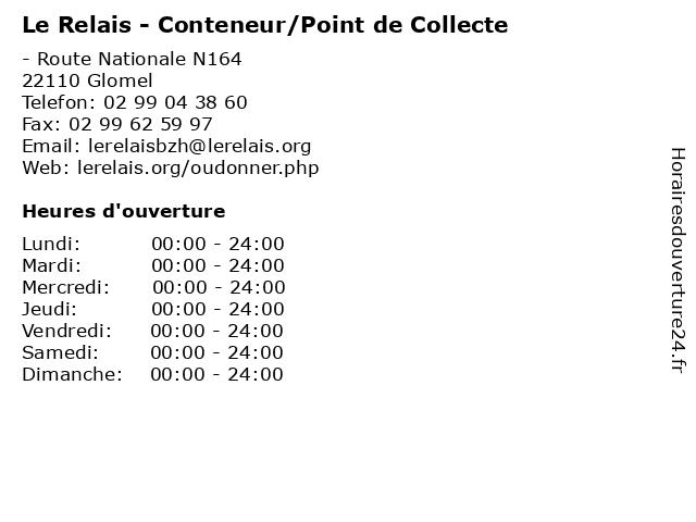 Le Relais - Conteneur/Point de Collecte à Glomel: adresse et heures d'ouverture