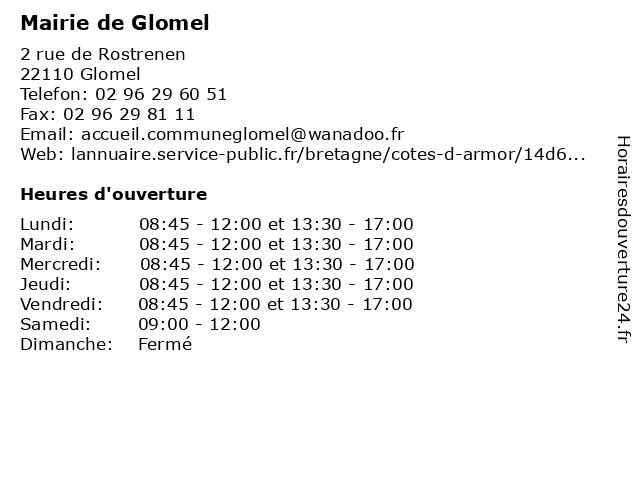 Mairie de Glomel à Glomel: adresse et heures d'ouverture