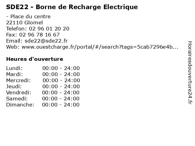 SDE22 - Borne de Recharge Electrique à Glomel: adresse et heures d'ouverture