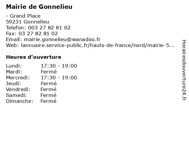 Mairie de Gonnelieu à Gonnelieu: adresse et heures d'ouverture