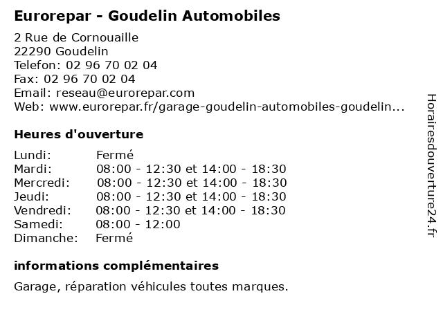 Garage de Cornouaille - Euro Repar à Goudelin: adresse et heures d'ouverture