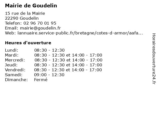 Mairie de Goudelin à Goudelin: adresse et heures d'ouverture