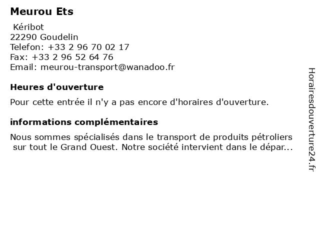 Meurou Ets à Goudelin: adresse et heures d'ouverture