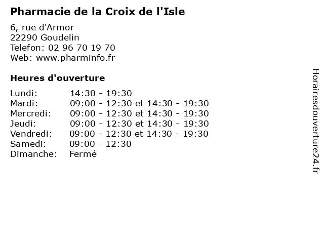 Pharmacie de la Croix de l'Isle à Goudelin: adresse et heures d'ouverture