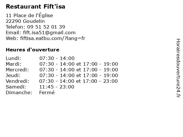Restaurant Fift'isa à Goudelin: adresse et heures d'ouverture