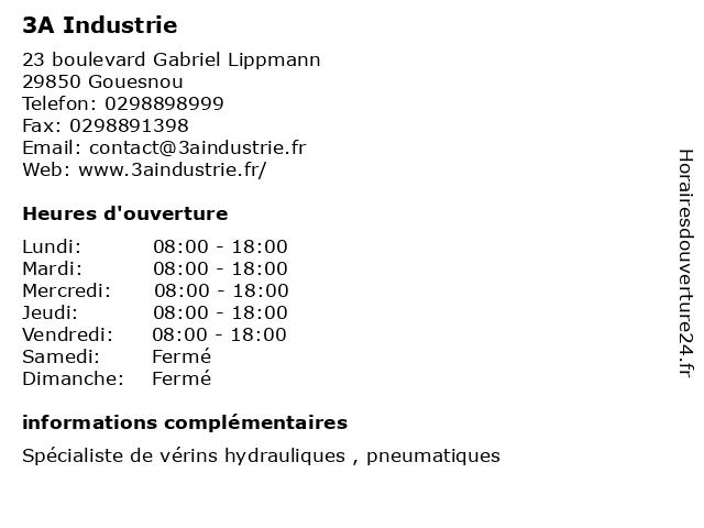 3A Industrie à Gouesnou: adresse et heures d'ouverture