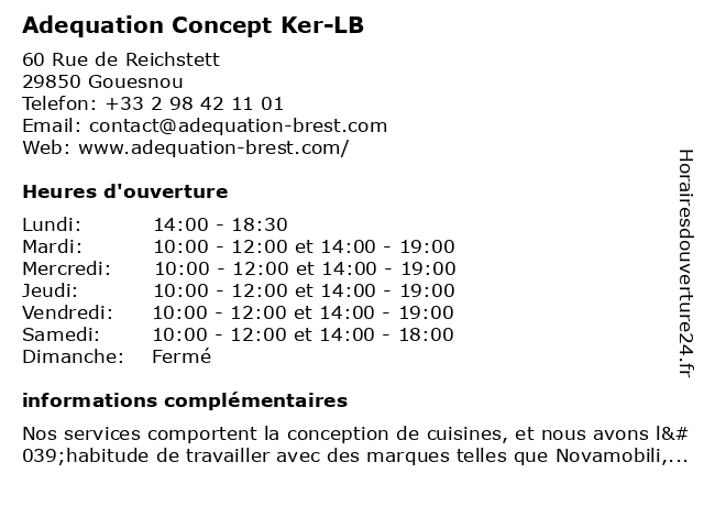 Adequation Concept Ker-LB à Gouesnou: adresse et heures d'ouverture