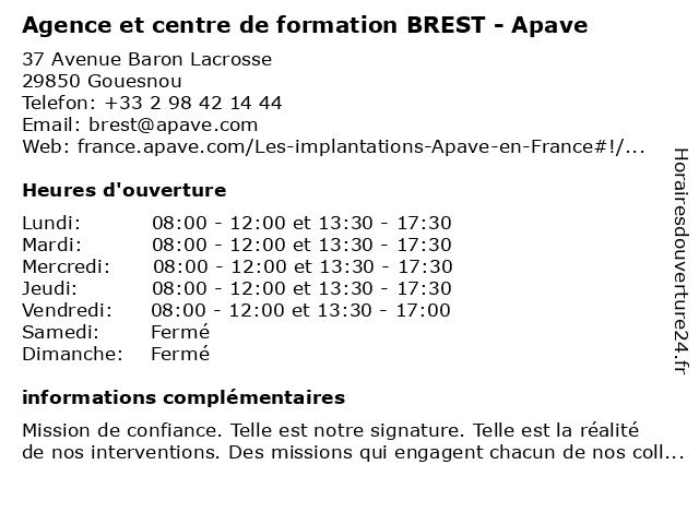 Agence BREST - Apave à Gouesnou: adresse et heures d'ouverture