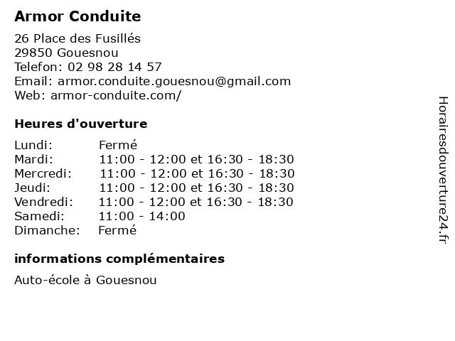 Armor Conduite à Gouesnou: adresse et heures d'ouverture
