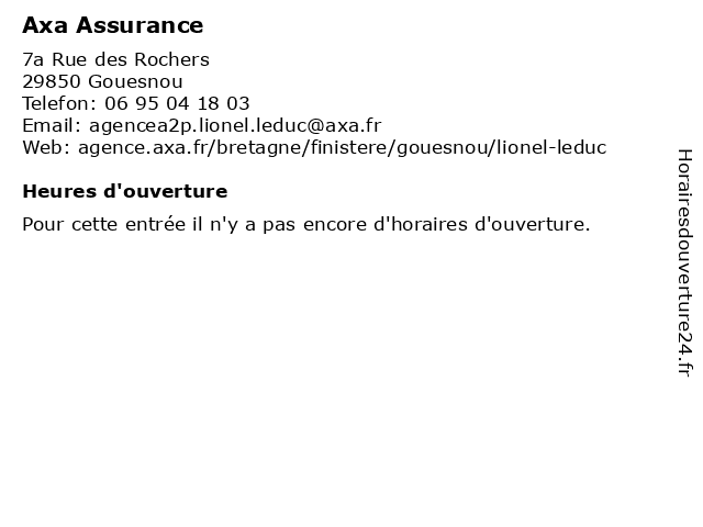 Axa Assurance à Gouesnou: adresse et heures d'ouverture