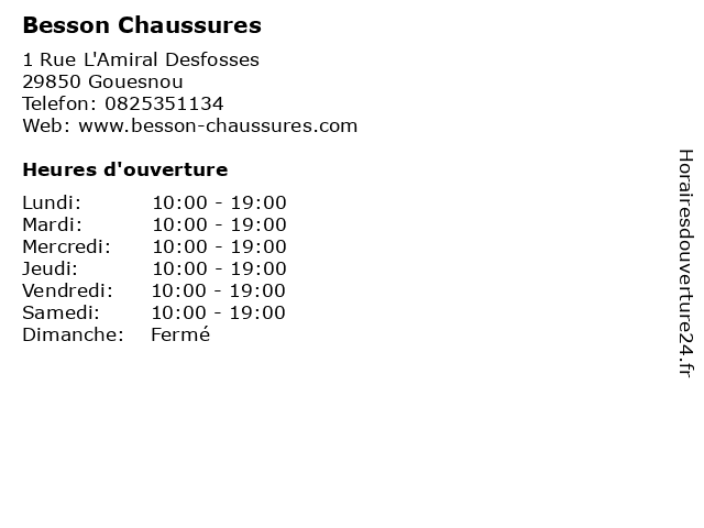 Besson Chaussures à Gouesnou: adresse et heures d'ouverture